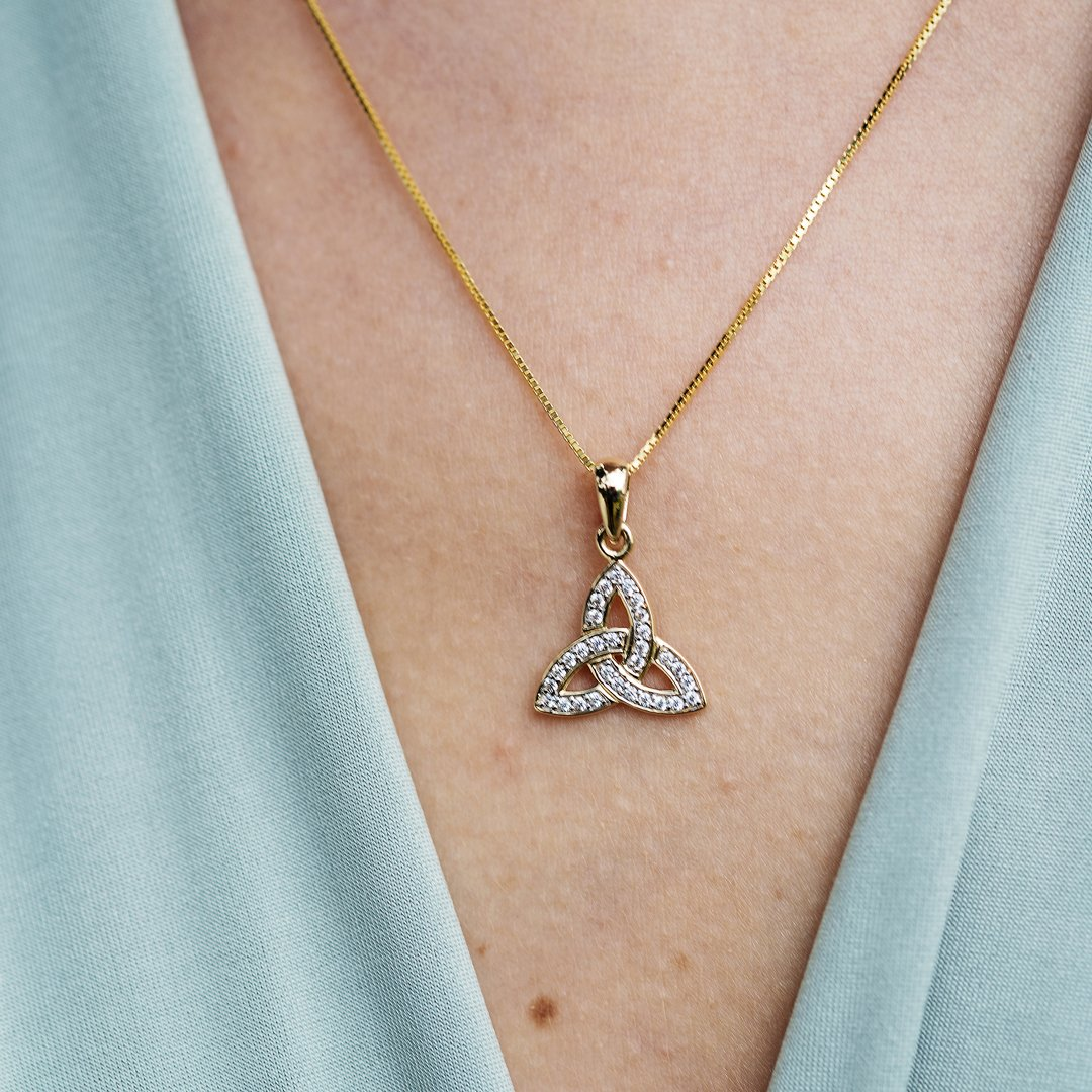 Gold 10K Trinity Knot Stone Set Necklace 10P649_2