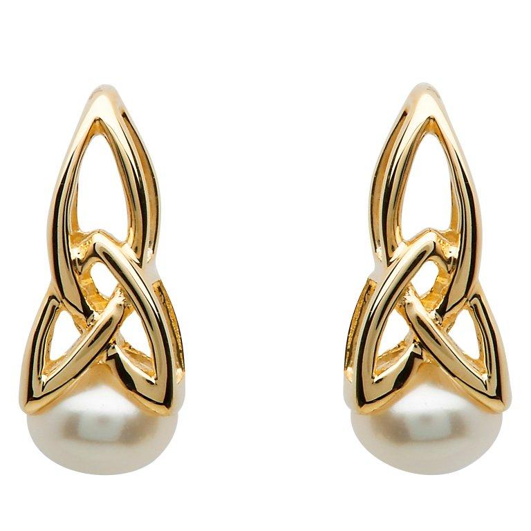 Gold 10K Trinity Pearl Earrings 10E641