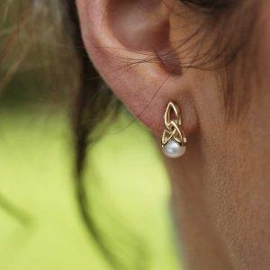Gold 10K Trinity Pearl Earrings 10E641_2