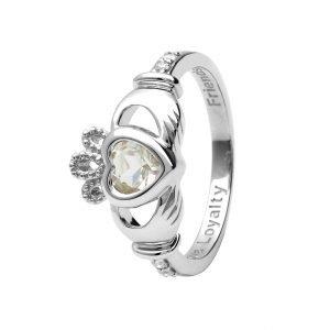 Gold 14K Claddagh April Birthstone Ring 14L90W April