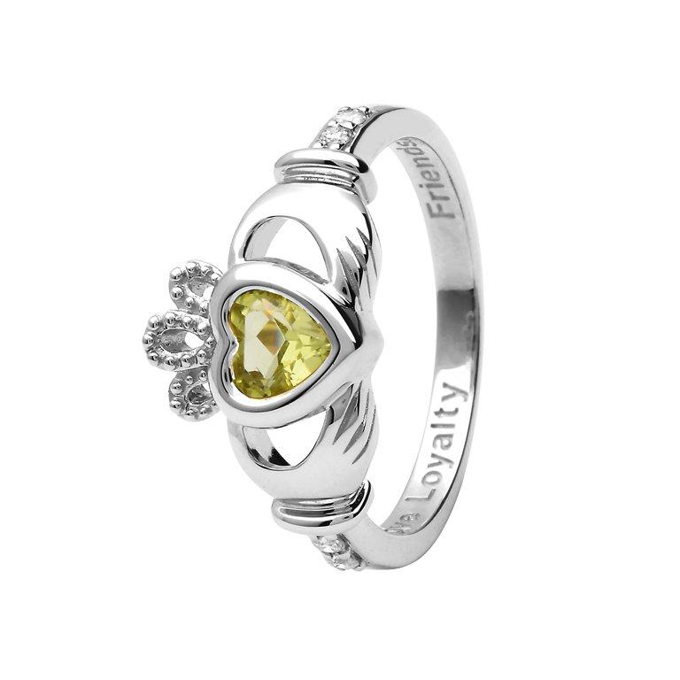 Gold 14K Claddagh August Birthstone Ring 14L90W Aug