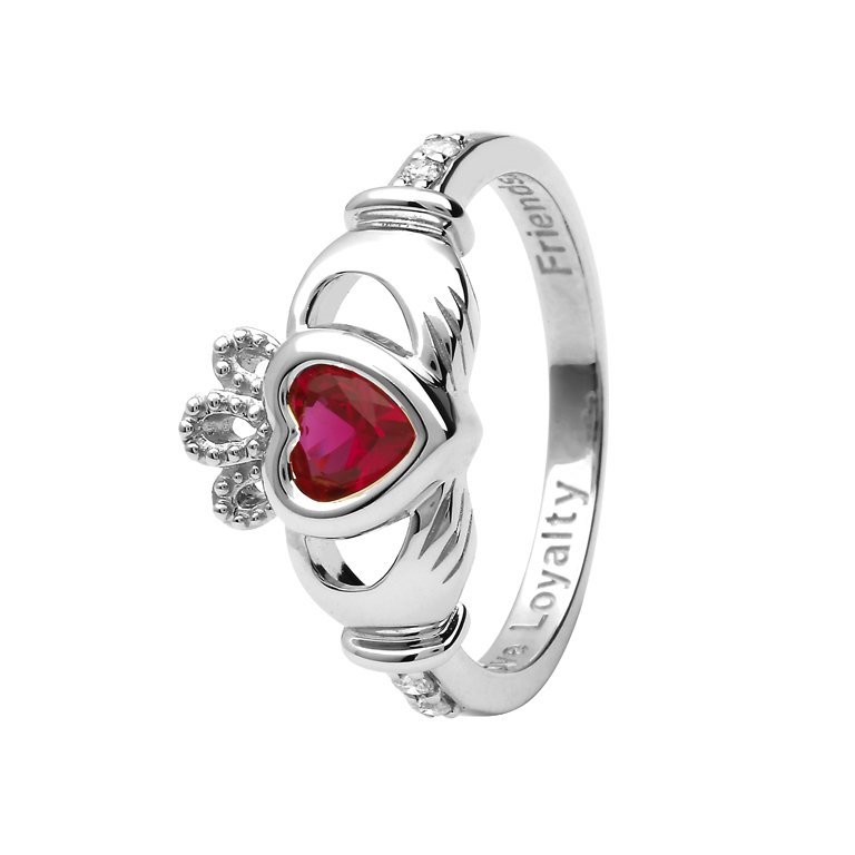 Gold 14K Claddagh July Birthstone Ring 14L90W July