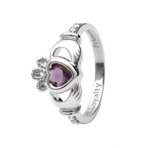 Gold 14K Claddagh June Birthstone Ring 14L90W June