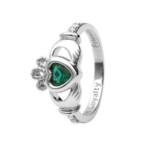 Gold 14K Claddagh May Birthstone Ring 14L90W May