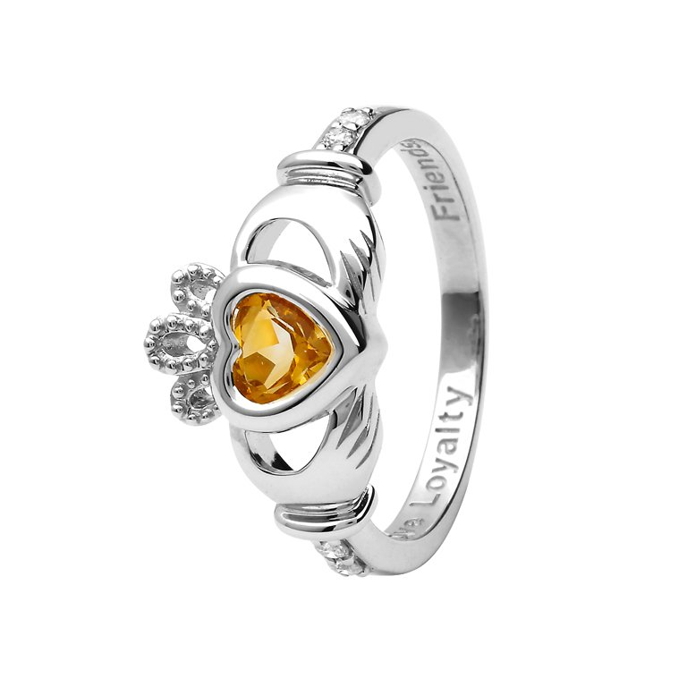 Gold 14K Claddagh November Birthstone Ring 14L90W Nov