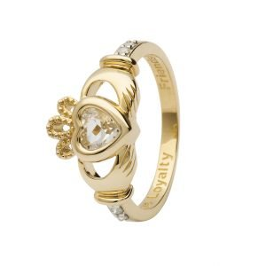 Gold Claddagh April Birthstone Ring 14L90 April