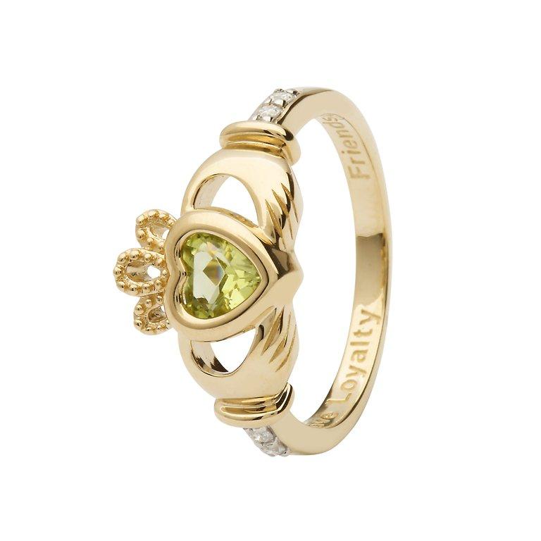 Gold Claddagh August Birthstone Ring 14L90 Aug