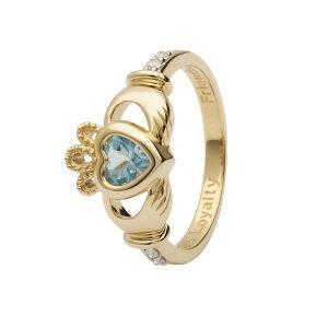 Gold Claddagh December Birthstone Ring 14L90 Dec