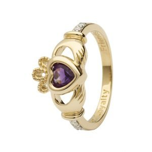 Gold Claddagh February Birthstone Ring 14L90 Feb