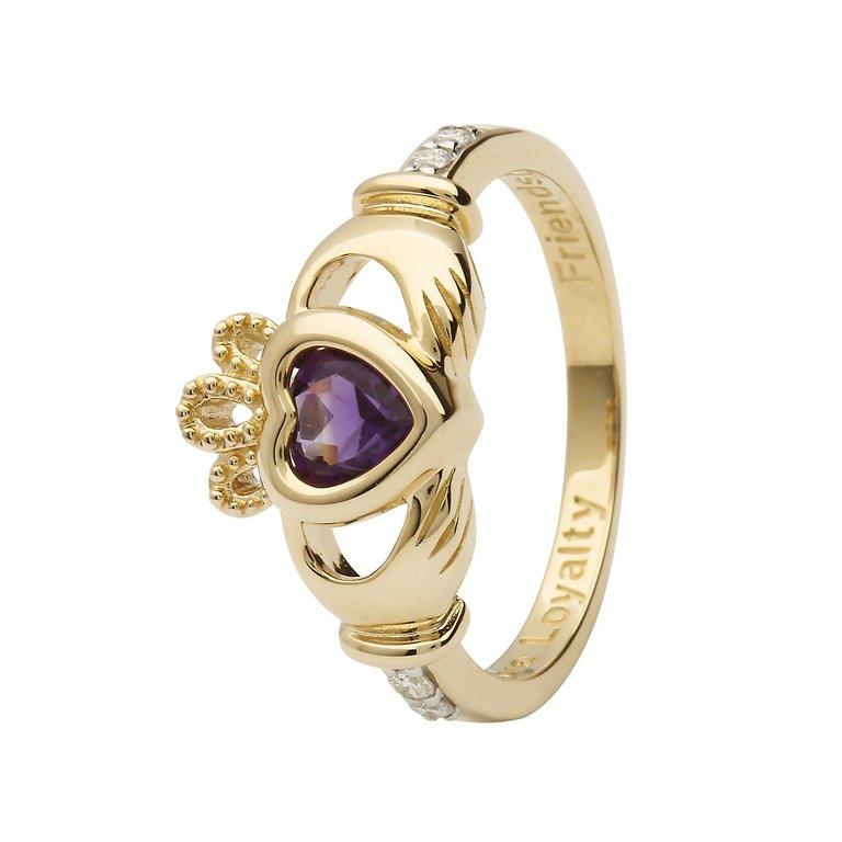 Gold Claddagh February Birthstone Ring 14L90 Feb