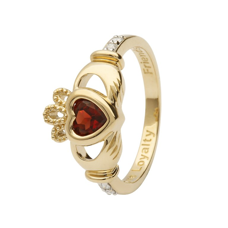 Gold Claddagh January Birthstone Ring 14L90 Jan
