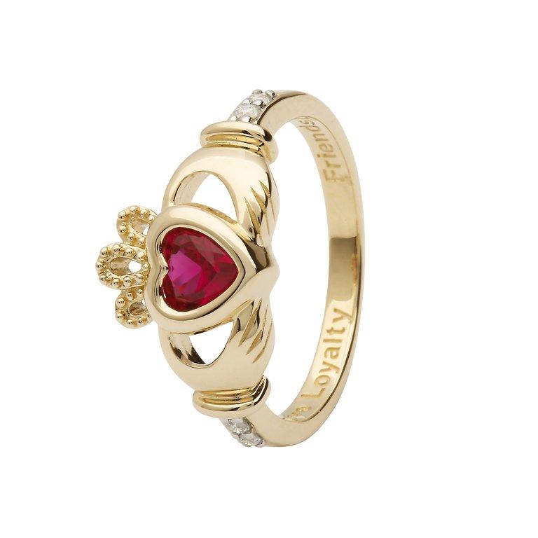 Gold Claddagh July Birthstone Ring 14L90 July