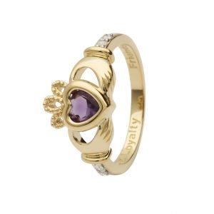 Gold Claddagh June Birthstone Ring 14L90 June