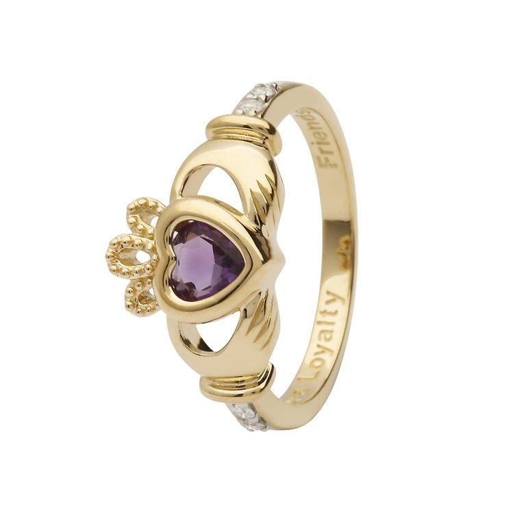 Gold Claddagh June Birthstone Ring 14L90 June