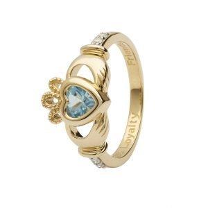 Gold Claddagh March Birthstone Ring 14L90 March