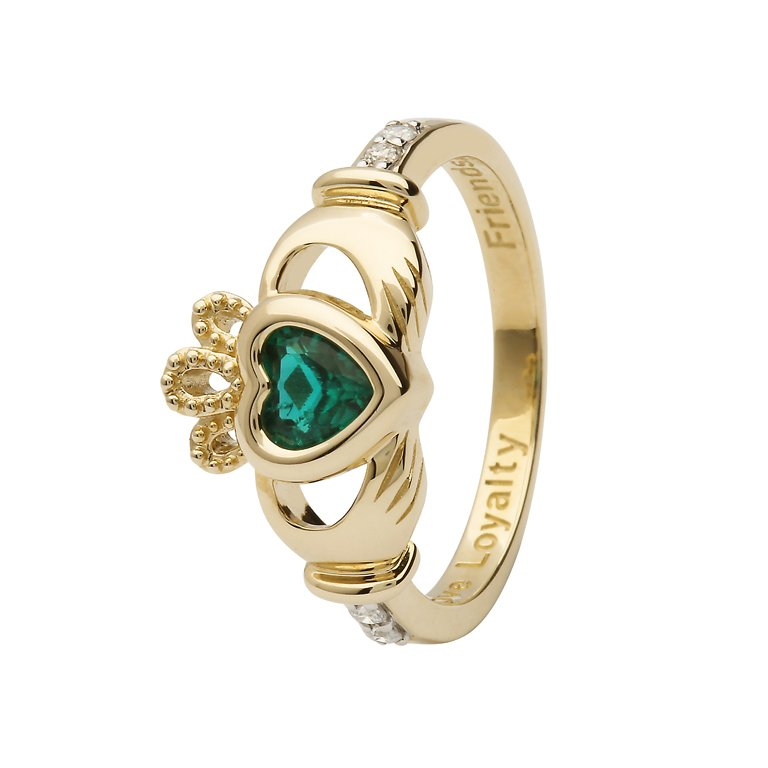 Gold Claddagh May Birthstone Ring 14L90 May