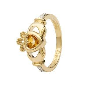 Gold Claddagh November Birthstone Ring 14L90 Nov