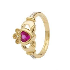 Gold Claddagh October Birthstone Ring 14L90 Oct