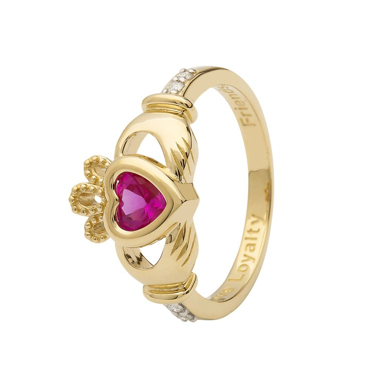 Gold Claddagh October Birthstone Ring 14L90 Oct