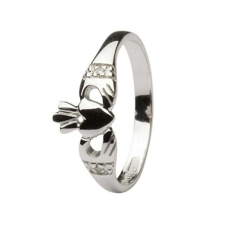 Gold Claddagh Ring With Diamond Set Cuffs 14L64W