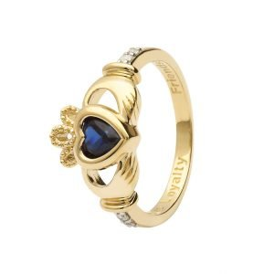 Gold Claddagh September Birthstone Ring 14L90 Sept