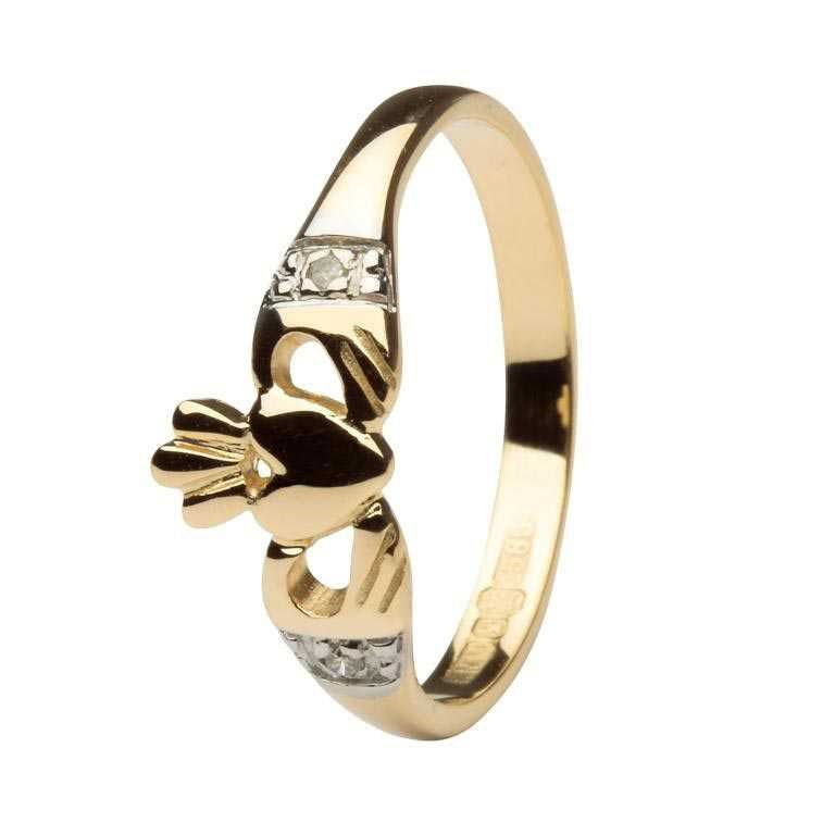 Gold Claddagh With Diamond Set Cuffs 14L64