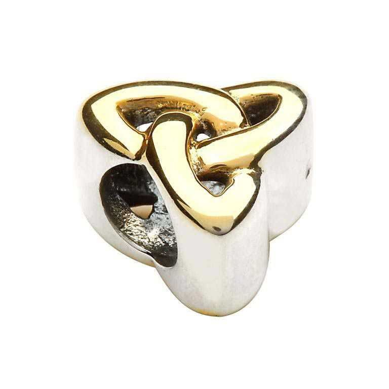 Gold Plate Trinity Knot Silver Bead Td74