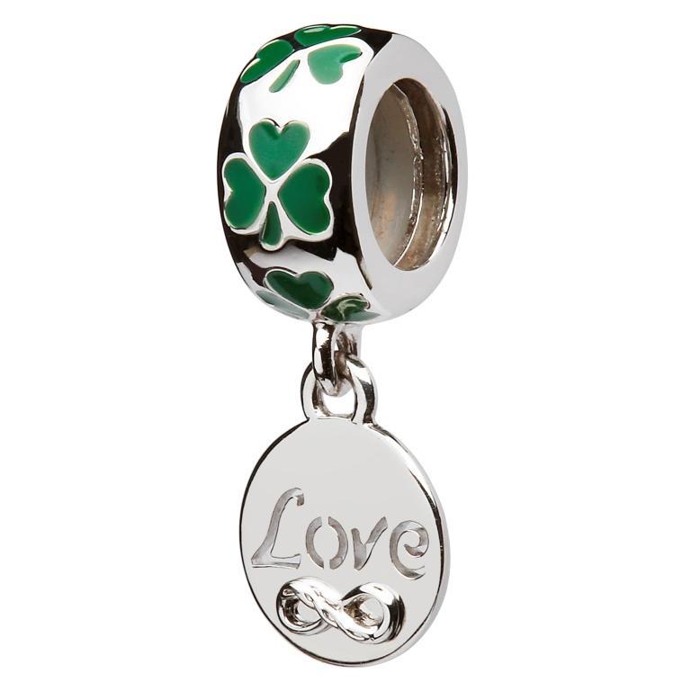 Green Enamel Shamrock Love Bead Td610
