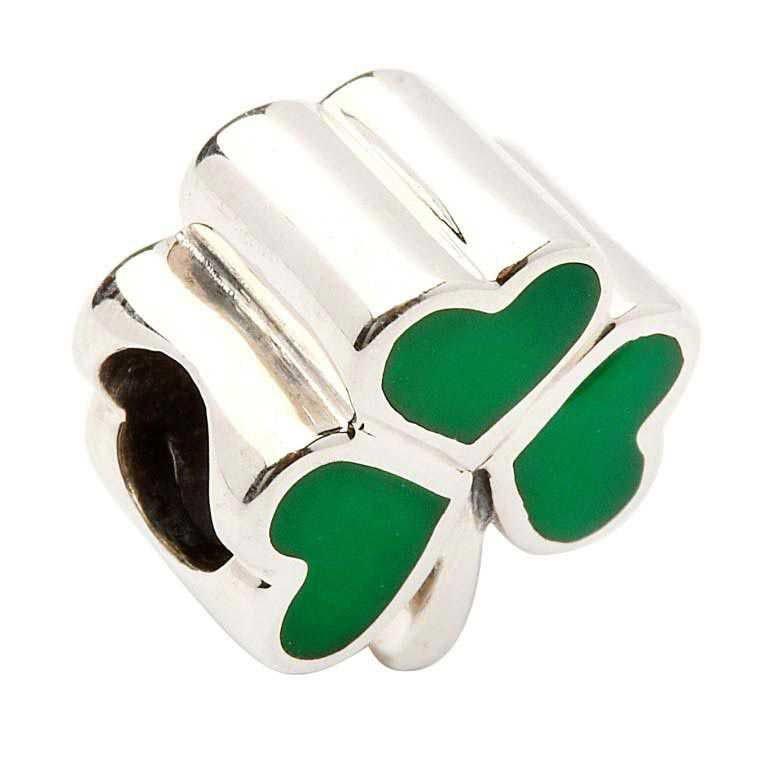 Green Enamel Silver Shamrock Bead Td49
