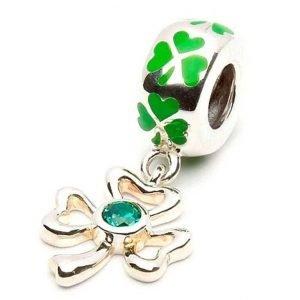 Green Enamel Silver Shamrock Drop Bead Td55