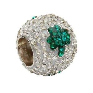 Green Shamrock Silver Crystal Bead Td67