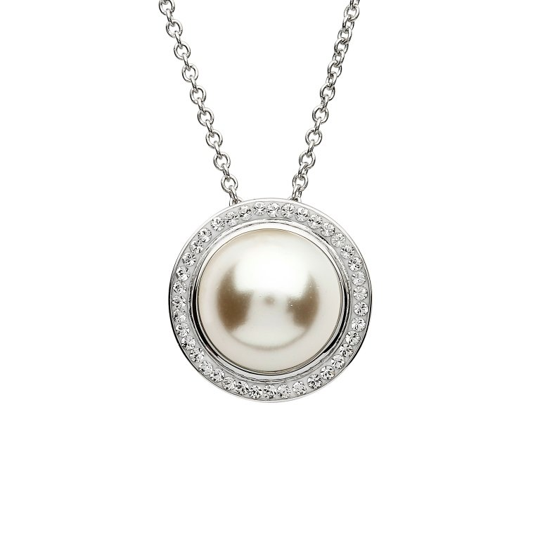 Halo Pearl Pendant Adorned With Swarovski Crystals St70