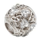 Heart Trinity Bead Encrusted With White Crystals Td232 - Gallery Thumbnail Image