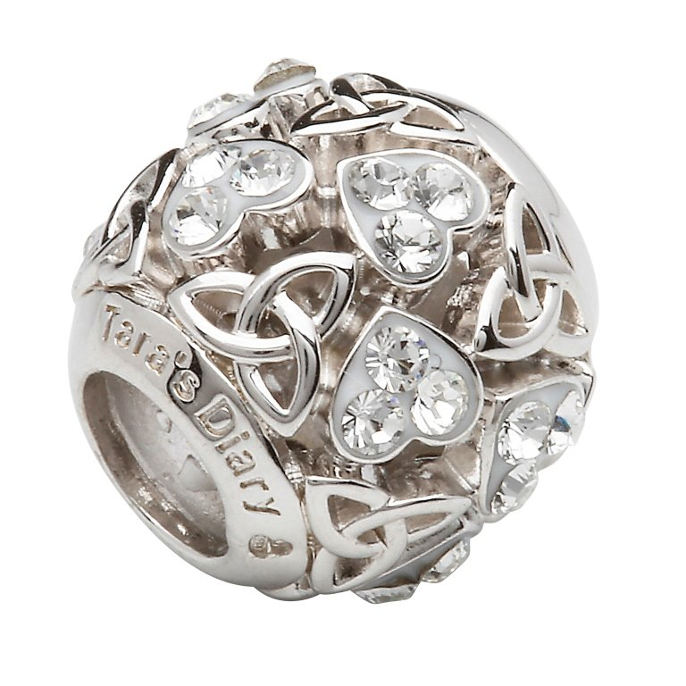 Heart Trinity Bead Encrusted With White Crystals Td232