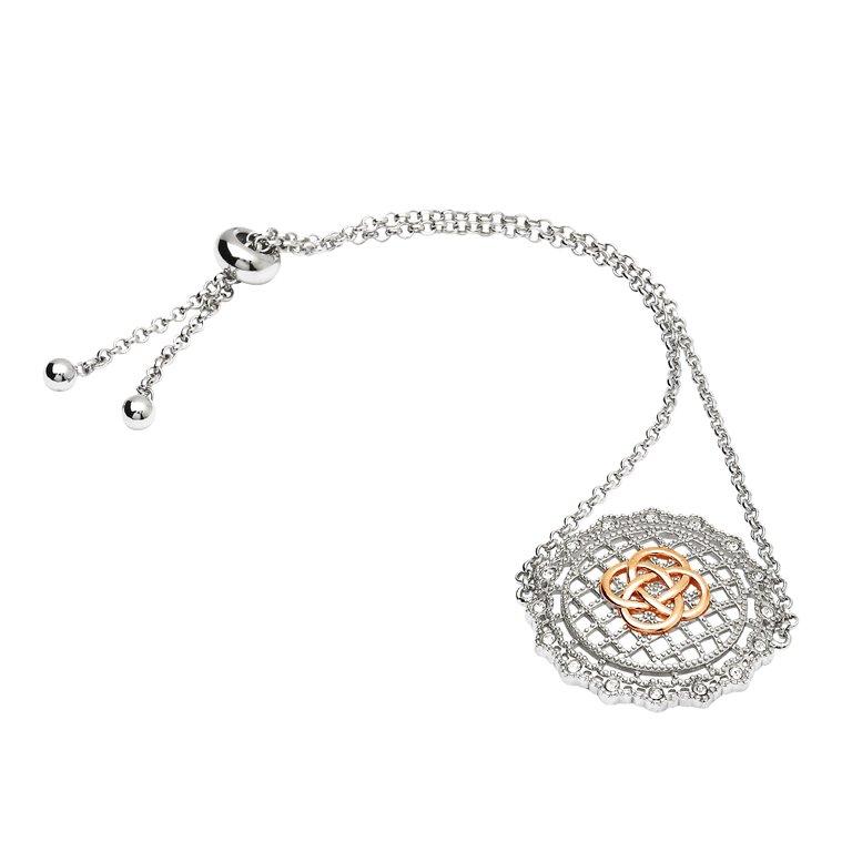 Irish Lace Rose Gold Celtic Knot Silver Bracelet Sw188