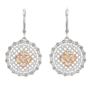 Irish Lace Rose Gold Plated Silver Celtic Knot Drop Earrings Sw187
