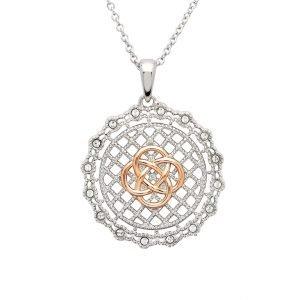 Irish Lace Rose Gold Silver Celtic Knot Pendant Necklace Sw186