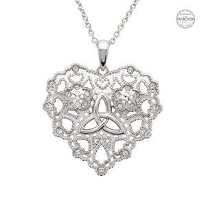 Irish Lace Silver Heart Trinity Knot Pendant Necklace Sw180