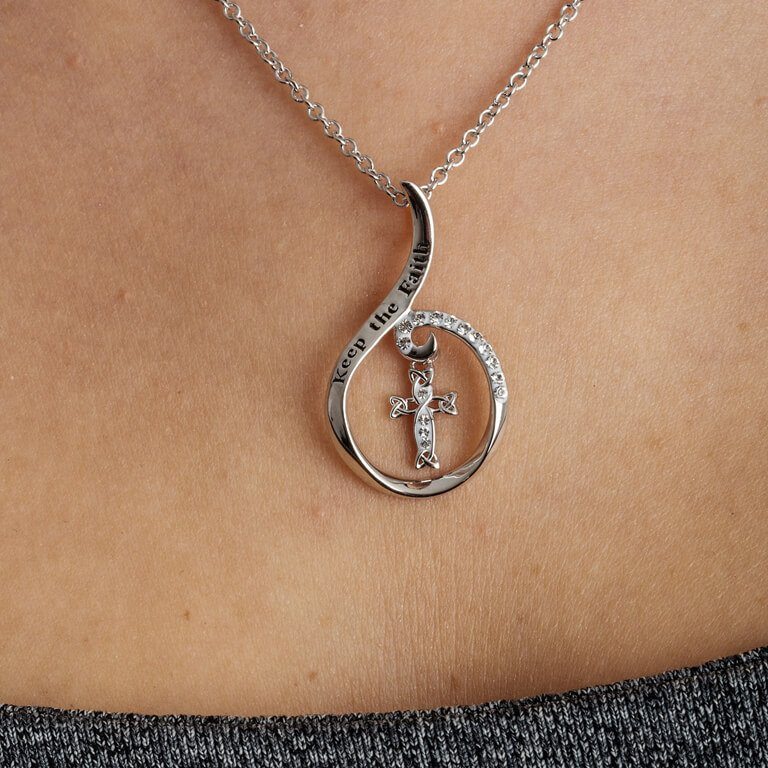 Keep The Faith Silver Pendant Encrusted With White Swarovski Crystal Sw88_2