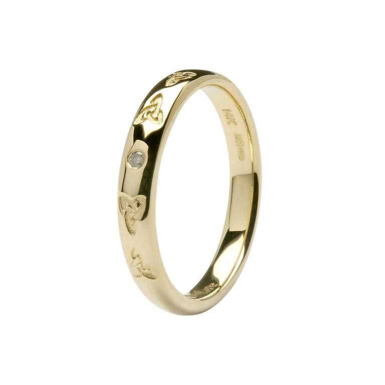 Ladies 14K Celtic Embossed Pressure Set Diamond Wedding Ring 14Ic44