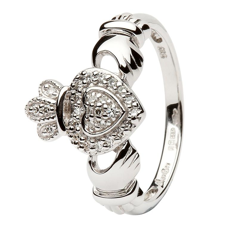 Ladies 14K White Gold Claddagh Ring Encrusted With Diamonds 14L83W
