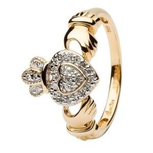 Ladies 14K Yellow Gold Claddagh Ring Encrusted With Diamonds 14L83
