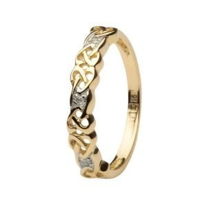 Ladies Celtic Design Diamond Set Ring 14Ic8