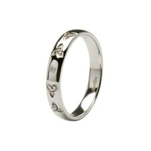 Ladies Celtic Embossed Pressure Set Diamond Wedding Ring 14Ic44W