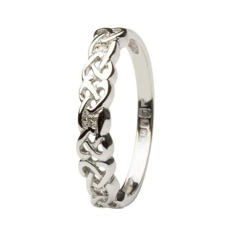 Ladies Celtic Knot Diamond Set Ring 14Ic8W