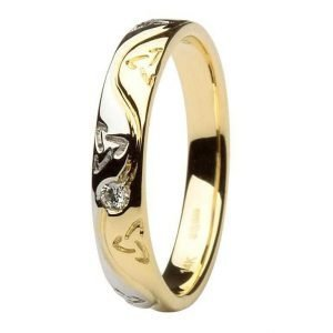Ladies Celtic Recessed Pressure Set Diamond Two Tone Wedding Ring 14Ic53Yw