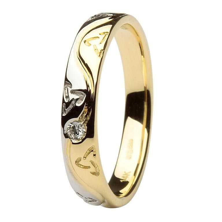 Ladies Celtic Recessed Pressure Set Diamond Two Tone Wedding Ring 14Ic53Yw