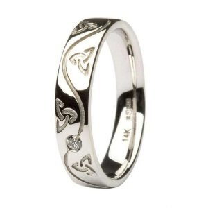 Ladies Celtic Recessed Pressure Set Diamond Wedding Ring 14Ic53W