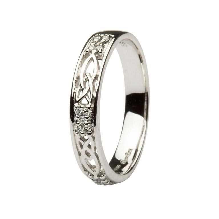 Ladies Celtic Wedding Band Diamond Set 14Ws6W2D
