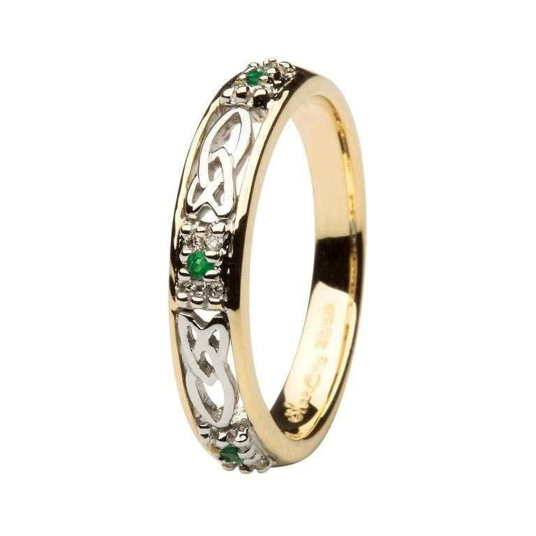 Ladies Celtic Wedding Band Emerald And Diamond 14Ws6Yw2Ed